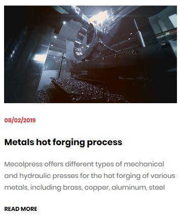 Metals hot forging process Mecolpress