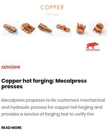 Copper hot forging