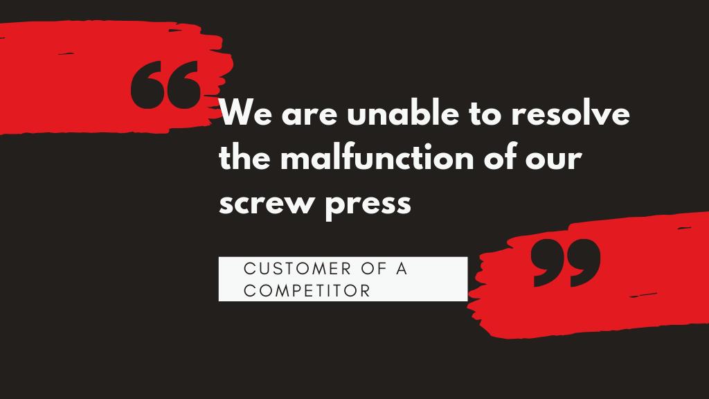 Screw press criticalities