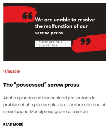 Article Screw press criticalities