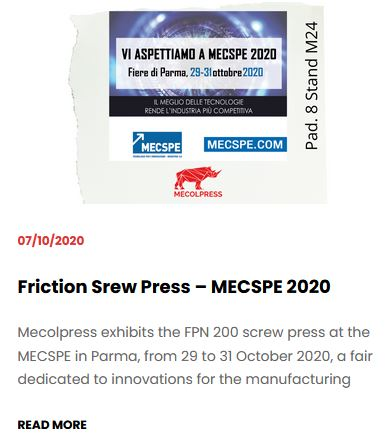 Friction Srew Press – MECSPE 2020